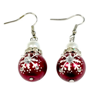 Painted Snowflake Pearl Red Glass Beads Earrings (E-187)