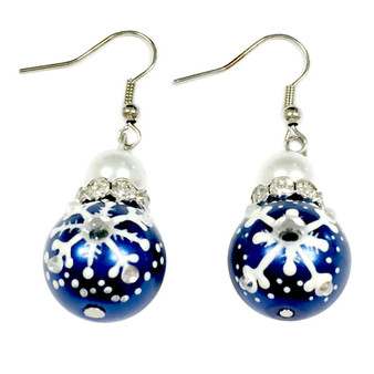 Painted Snowflake Pearl Blue Glass Beads Earrings (E-188)