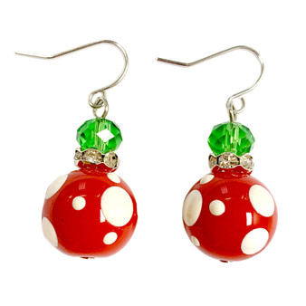 Painted Christmas Polka Dots Red Glass Beads Earrings (E-190)