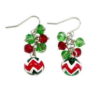 Dainty Painted Christmas Chevron Pattern Glass Beads & Crystals Earrings (E-262A)