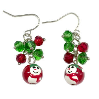 Dainty Painted Christmas Red Snowman Glass Beads & Crystals Earrings (E-262B)