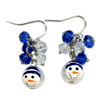 Dainty Painted Christmas Blue Snowman Glass Beads & Crystals Earrings (E-262C)