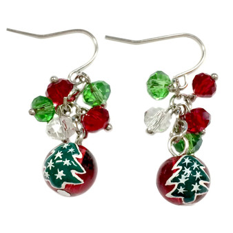 Dainty Painted Christmas Tree Glass Beads & Crystals Earrings (E-262D)