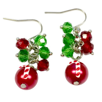 Dainty Painted Christmas Candy Cane Glass Beads & Crystals Earrings (E-262G)