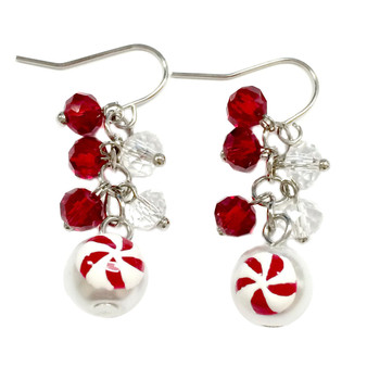 Dainty Painted Christmas Peppermint Candy Glass Beads & Crystals Earrings (E-262H)