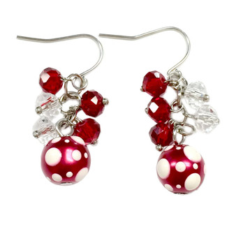 Dainty Painted Christmas Polka Dots Glass Beads & Crystals Earrings (E-262I)