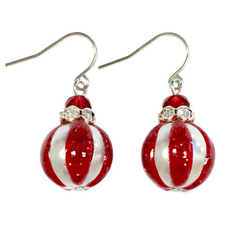 Painted Glittering Christmas Ornament Glass Beads Earrings (E-303A)