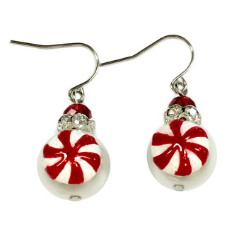 Painted Glittering Christmas Peppermint Candy Glass Beads Earrings (E-303C)