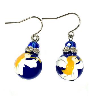 Painted Christmas Angel Blue Glass Beads Earrings (E-304B)