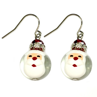 Painted Christmas Santa Claus Glass Beads Earrings (E-304C)
