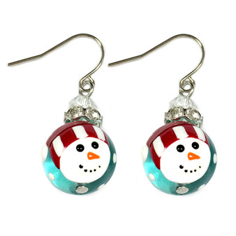 Painted Christmas Red Hat Snowman Glass Beads Earrings (E-304D)