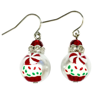 Painted Christmas Peppermint Candy Cupcake Glass Beads Earrings (E-304E)