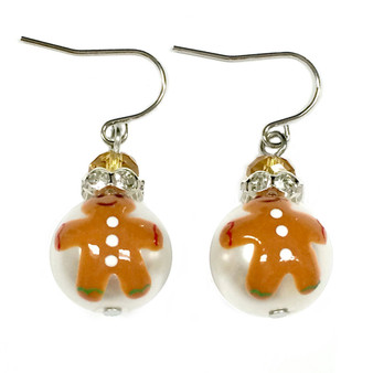 Painted Christmas Gingerbread Man Glass Beads Earrings (E-304F)