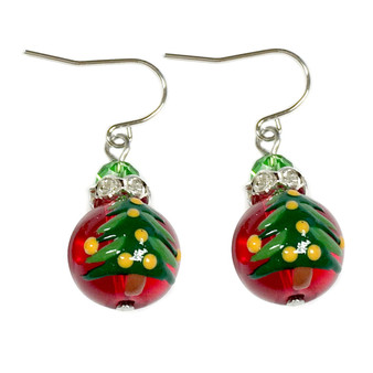 Painted Christmas Festival Tree Red Glass Beads Earrings (E-304G)