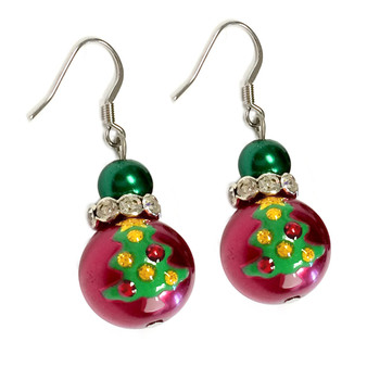 Painted Christmas Festival Tree Glass Beads Earrings (E-346)