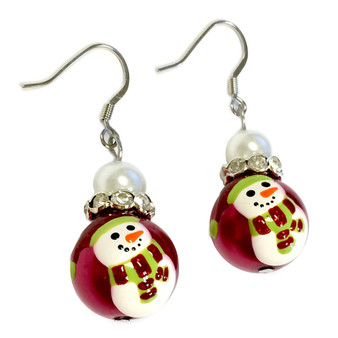 Painted Christmas Red Hat Snowman Glass Beads Earrings (E-347)