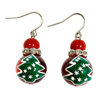 Painted Christmas Tree Glass Beads Earrings (E-348)
