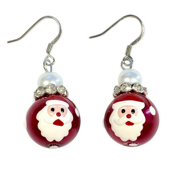 Painted Christmas Santa Claus Red Glass Beads Earrings (E-349)