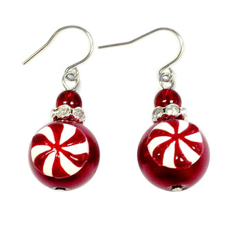 Painted Christmas Peppermint Candy Red Glass Beads Earrings (E-355)