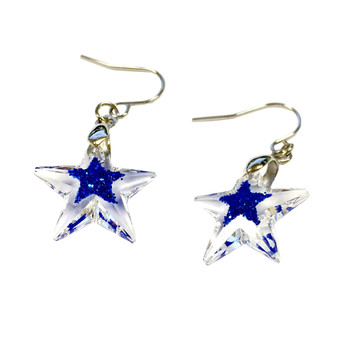Fine Painted Blue Star Swarovski Crystal Earrings (E-356B)
