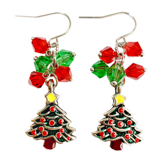 Painted Christmas Festival Tree Charm & Crystals Earrings (E-357B)