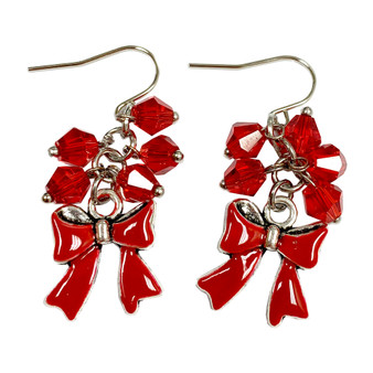 Painted Christmas Red Ribbons Charm & Crystals Earrings (E-357D)