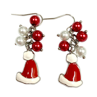 Painted Christmas Santa Hat Charm & Dainty Glass Beads Earrings (E-357E)