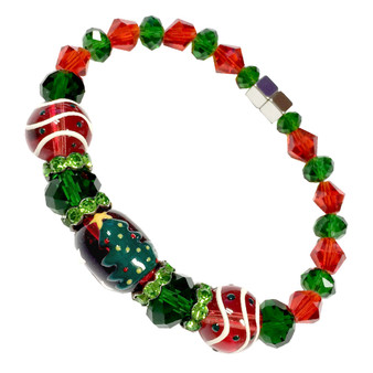 Painted Christmas Tree Glass & Crystals Beaded Bracelet with Magnetic Clasps(IUP11-3LM2)