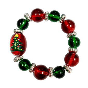 Painted Kid's Christmas Tree Glass Beaded Stretch Bracelet (IUP13-1KID)