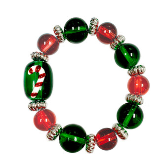Painted Kid's Christmas Candy Cane Glass Beaded Stretch Bracelet (IUP13-2KID)