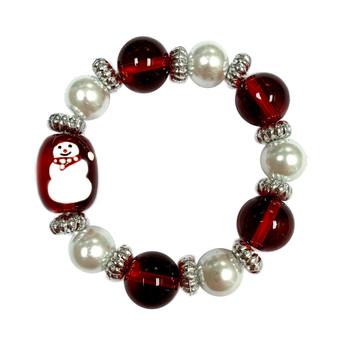 Painted Kid's Christmas Snowman Glass Beaded Stretch Bracelet (IUP13-3KI