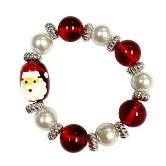 Painted Kid's Christmas Santa Claus Glass Beaded Stretch Bracelet (IUP13-4KID)