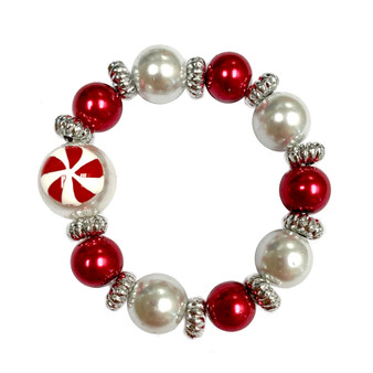 Painted Kid's Christmas Peppermint Candy Glass Beaded Stretch Bracelet (IUP13-5KID)