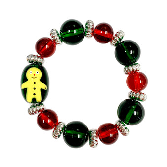 Painted Kid's Christmas Gingerbread Man Glass Beaded Stretch Bracelet (IUP13-6KID)
