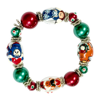 Fine Painted Christmas Snowman, Angel, Gingerbread Man, Reindeer Glass Beaded Stretch Bracelet (IUP13-6)