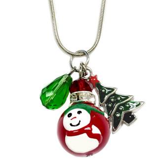 Painted Red Snowman Glass Bead, Painted Christmas Tree & Crystal Charms Necklace (NE-3091B)