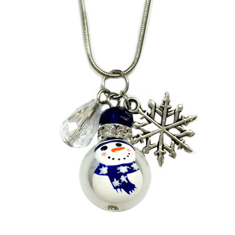 Painted Blue Snowman Glass Bead, Snowflake & Crystal Charm Necklace (NE-3091C)