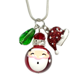 Painted Christmas Santa Glass Bead, Painted Glittering Red Hat & Crystal Charms Necklace (NE-3091E)