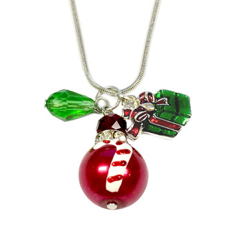 Painted Christmas Candy Cane Glass Bead, Painted Gift Box & Crystal Charms Necklace (NE-3091F)