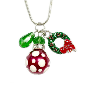 Painted Christmas Polka Dots Glass Bead, Painted Wreath & Crystal Charms Necklace (NE-3091H)