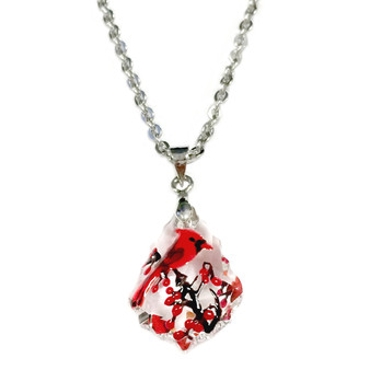 Fine Painted Cardinals Swarovski Crystal Necklace (NE-3100A)