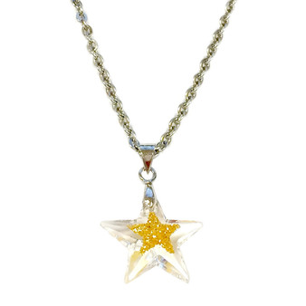 Fine Painted Gold Star Swarovski Crystal Necklace (NE-3132A)