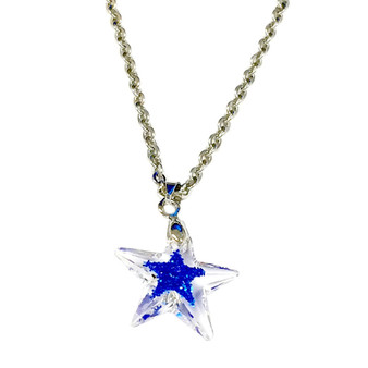 - Fine Painted Blue Star on Swarovski® 20mm Star Crystal Pendants.