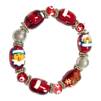 Painted Christmas Santa, Hat, Stocking, Reindeer, Ice Skate Red Glass Beaded Stretch Bracelet (XM-04)