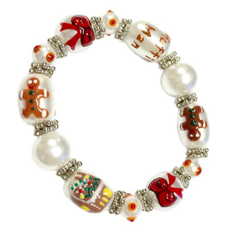 Painted Christmas Gingerbread Man, Candy House, Ribbons Glass Beaded Stretch Bracelet (XM-07)