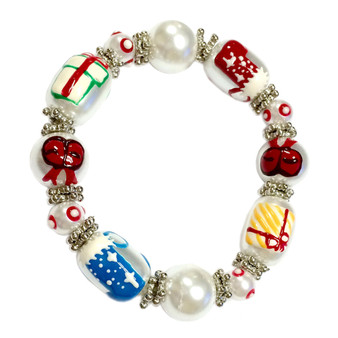 Painted Christmas Red/Blue Stockings, Gifts, Ribbons Glass Beaded Stretch Bracelet (XM-08)