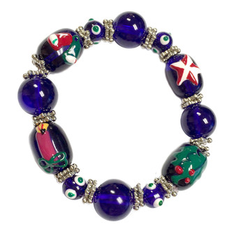 Painted Christmas Bells, Mistletoe, Star, Candle Blue Glass Beaded Stretch Bracelet (XM-10)