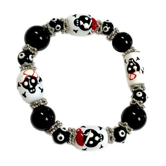 Painted Halloween Skull Pirate Glass Beaded Stretch Bracelet (BR-1353)