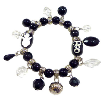 Painted Halloween Ghost, Boo Black Glass Beaded with Charms Stretch Bracelet (BR-2256D)