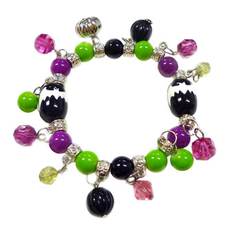 Painted Halloween Bat Purple/ Green Glass Beaded with Charms Stretch Bracelet BR-2256E